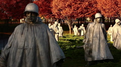 Panning shot of statues at the Korean War Veterans Memorial Stock Footage