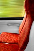 Empty passenger train seat reservation concept - stock photo