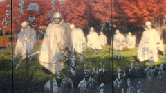 Zoom shot of the Korean War Veterans Memorial wall in Washington DC Stock Footage