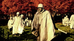 Pan of soldier statues at the Korean War Veterans Memorial in Washingto DC Stock Footage