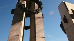 Tilting shot of New York pillar at the World War II Memorial in Washington DC Stock Footage