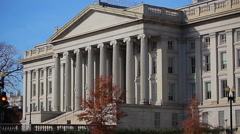 Stock Video Footage of Static shot of the US Treasury Department in Washington DC