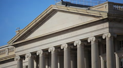 Stock Video Footage of Static shot of the roof of the Treasury Department in Washington DC