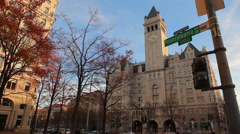 Static shot of the old post office pavilion on Pennsylvania Avenue in Washington - stock footage