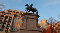 A panning down and then up shot of the General Winfield Scott Hancock statue. Stock Footage