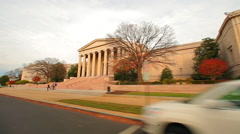 Tracking shot of a building with ionic pillars in Washington DC. Stock Footage