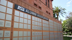 ASU Old Main Alumni Association Signs - Pan Shot - stock footage