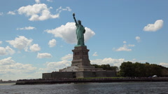 View of the Statue of Liberty while floating the Hudson River by ferry. Stock Footage