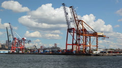 View of the Red  Hook Container Terminal while floating the Hudson River. Stock Footage