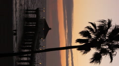 Verticle view of Manhattan Beach Pier at sunset. Stock Footage