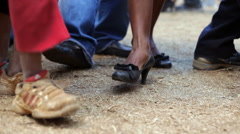 Static shot of peoples feet as the are dancing. Stock Footage
