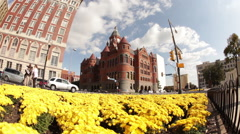 Fisheye dolly shot of Dallas panning over yellow flowers. Stock Footage
