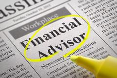 Financial Advisor Jobs in Newspaper Stock Illustration
