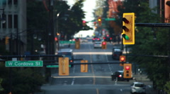 Stock Video Footage of Static shot of traffic lights on Cordova street in Vancouver.