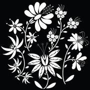 White  Floral folk pattern in circle shape on black  background Stock Illustration