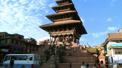 Traffic at Bhaktapur Square in Nepal Stock Footage