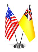 USA and Niue - Miniature Flags Stock Illustration