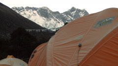 Orange tent with Everest and Lhotse in the background. Stock Footage