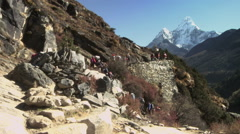 Line of hikers and sherpas carrying gear up a Himalayan trail. Stock Footage