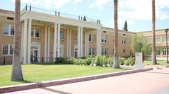 ASU West Hall Building Front Entrance - Pan Shot Stock Footage