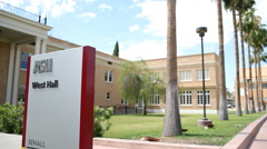 ASU West Hall Sign and Exterior Slow Pan Stock Footage