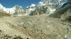 Panorama of a dirty glacier flowing from the Himalayas. Stock Footage