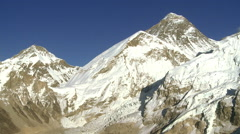 Panorama of Everest, Lhotse, and Nuptse. Stock Footage