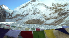 Buddhist prayer flags with Mount Everest in the background. Stock Footage