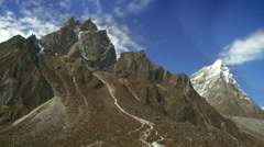 Rugged mountain peaks in Nepal. Stock Footage