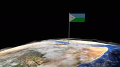 Djibouti flag on pole on earth globe animation Stock Footage