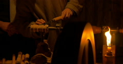 Working on an old wood lathe Stock Footage