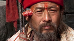 Close up of an old Nepali man. Stock Footage