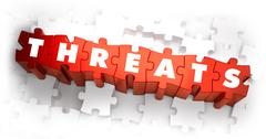 Threats - Word on Red Puzzles - stock illustration
