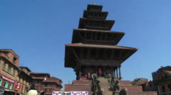 Busy village square in Nepal. Stock Footage