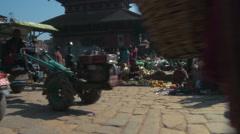 Busy street in a Nepali village. Stock Footage