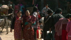 Busy town square in Nepal. Stock Footage