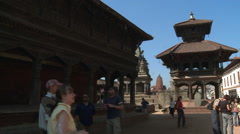 Tourists at a temple in Nepal. Stock Footage