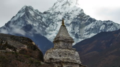 Time-lapse of a buddhist stupa with Ama Dablam peak in the background. Cropped. Stock Footage