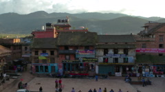 Time-lapse of dusk at Taumadhi square in Bhaktapur, Nepal. Cropped. Stock Footage