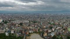 Panning shot of Time-lapse of the Kathmandu, Nepal cityscape. Stock Footage