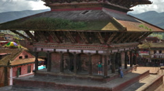 Panning shot of Time-lapse of Nyatapola temple and Taumadhi square in Bhaktapur, Stock Footage