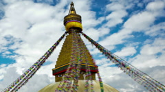Panning shot of Time-lapse of Boudhanath Stupa in Boudha, Nepal. Stock Footage
