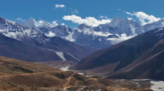 Panning shot of Time-lapse of clouds passing over a Himalayan valley. Stock Footage