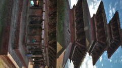 Vertical shot of Time-lapse of Nyatapola temple and Taumadhi square in Stock Footage