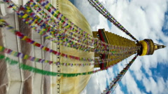 Vertical shot of Time-lapse of Boudhanath Stupa in Boudha, Nepal. - stock footage