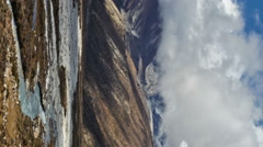 Vertical shot of Time-lapse of the valley floor in the Himalaya in Nepal. - stock footage