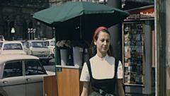 Vienna 1967: traffic in front of Vienna State Opera - Wiener Staatsoper Stock Footage
