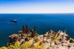 Cargo ship in the blue sea Kuvituskuvat