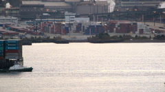 Static view of boats cruzing by in the water. Stock Footage