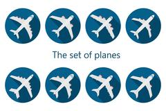 Airplane icon with long shadow - stock illustration